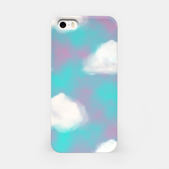 Miniature de image de White Clouds Watercolor Sky Aesthetic Dream Teal Blue iPhone Case, Live Heroes