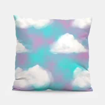 Miniature de image de White Clouds Watercolor Sky Aesthetic Dream Teal Blue Pillow, Live Heroes