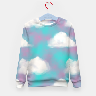 Miniature de image de White Clouds Watercolor Sky Aesthetic Dream Teal Blue Kid's sweater, Live Heroes