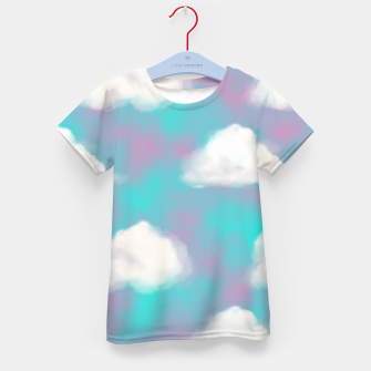 Imagen en miniatura de White Clouds Watercolor Sky Aesthetic Dream Teal Blue Kid's t-shirt, Live Heroes