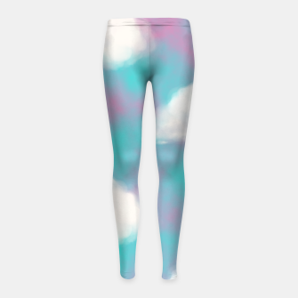 Imagen en miniatura de White Clouds Watercolor Sky Aesthetic Dream Teal Blue Girl's leggings, Live Heroes