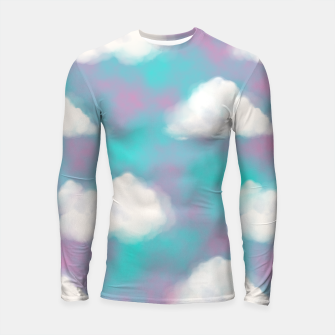 Imagen en miniatura de White Clouds Watercolor Sky Aesthetic Dream Teal Blue Longsleeve rashguard , Live Heroes