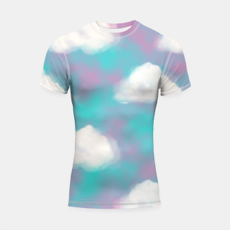 Imagen en miniatura de White Clouds Watercolor Sky Aesthetic Dream Teal Blue Shortsleeve rashguard, Live Heroes