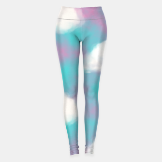 Imagen en miniatura de White Clouds Watercolor Sky Aesthetic Dream Teal Blue Leggings, Live Heroes