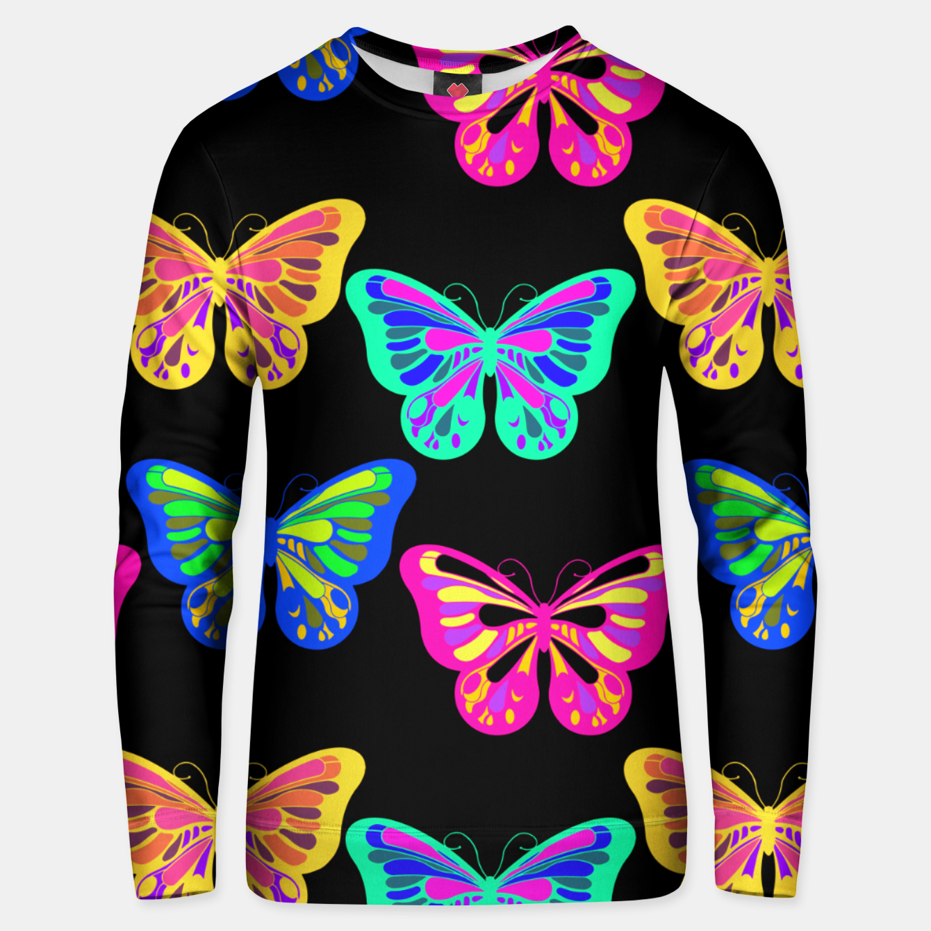 Image of Colorful Butterflies Lepidopterous Vaporwave Vibrant Colors Unisex sweater - Live Heroes
