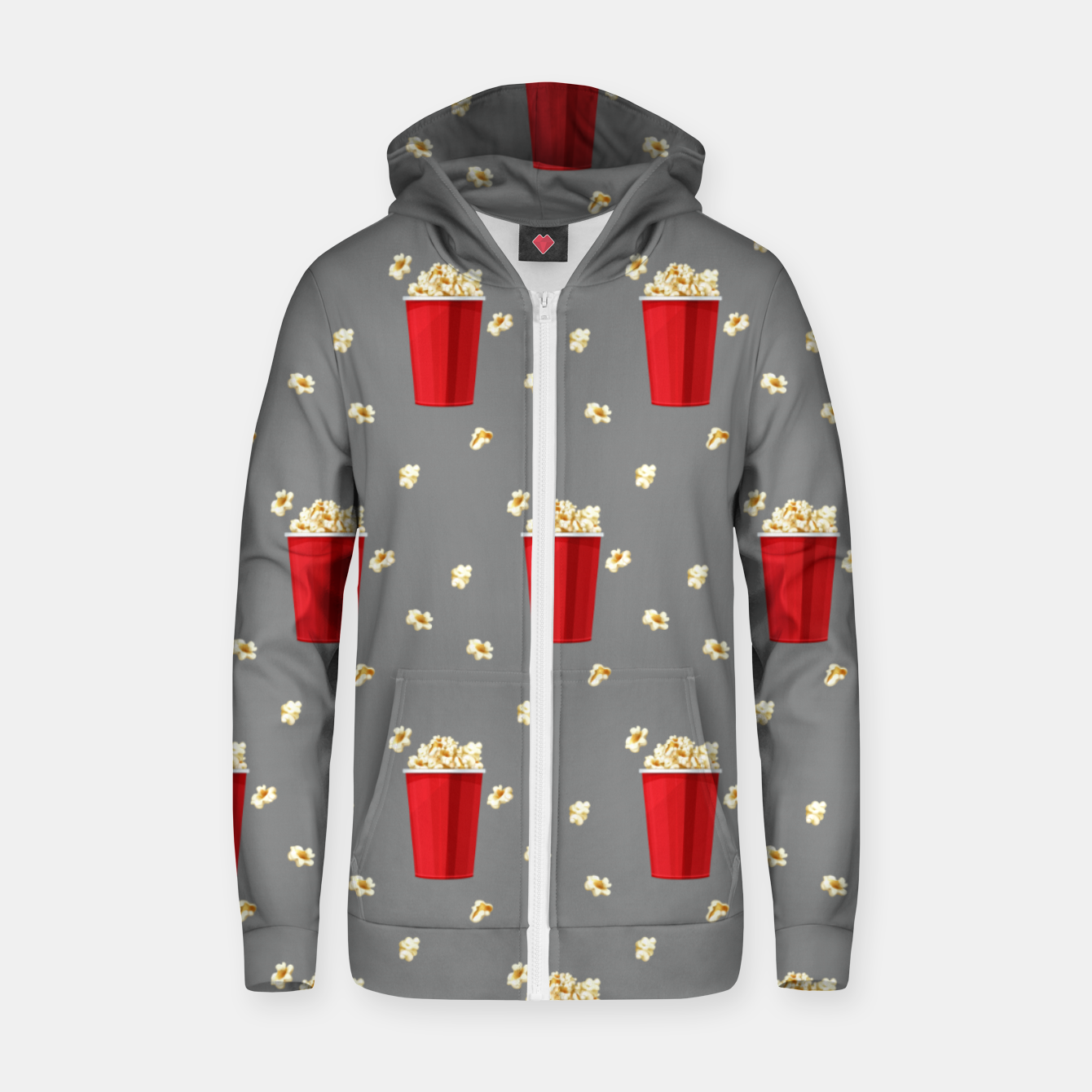 Image of Red Popcorn Buckets Movie Snack Television Film Lovers Zip up hoodie - Live Heroes