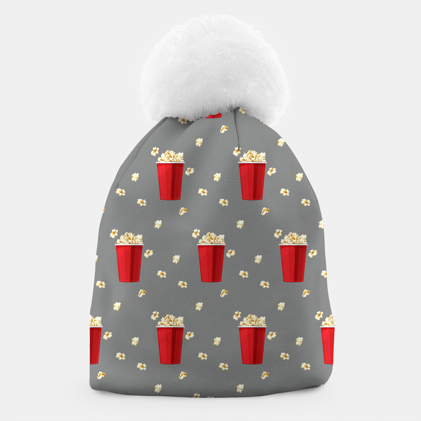 Image of Red Popcorn Buckets Movie Snack Television Film Lovers Beanie - Live Heroes