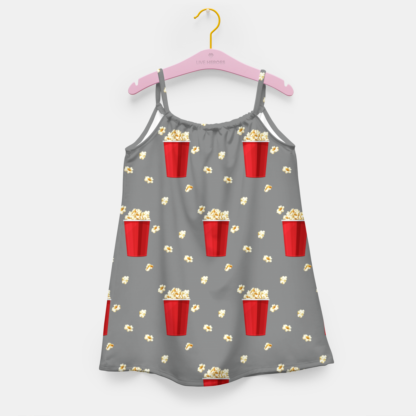 Image of Red Popcorn Buckets Movie Snack Television Film Lovers Girl's dress - Live Heroes
