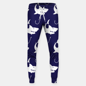 Imagen en miniatura de Shark Lovers Nautical Fisherman Fish Hooks Navy Blue Sweatpants, Live Heroes