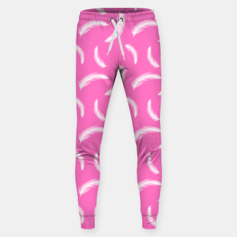 Thumbnail image of White Feathers Girly Pink Boho Style Native Indian Sweatpants, Live Heroes