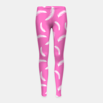 Thumbnail image of White Feathers Girly Pink Boho Style Native Indian Girl's leggings, Live Heroes