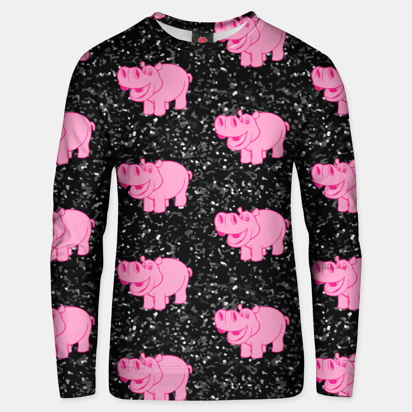 Image of Pink Hippos Cute Hippopotamus Smiling Face Big Animals Unisex sweater - Live Heroes