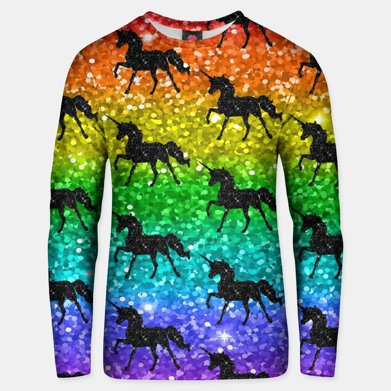 Image of Unicorn Silhoutte Rainbow Colors Glitter LGBTQ Pride Unisex sweater - Live Heroes