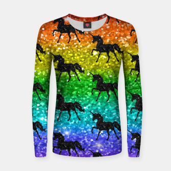 Thumbnail image of Unicorn Silhoutte Rainbow Colors Glitter LGBTQ Pride Women sweater, Live Heroes