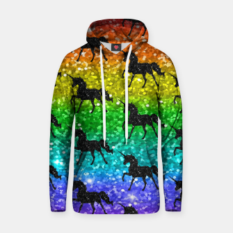 Thumbnail image of Unicorn Silhoutte Rainbow Colors Glitter LGBTQ Pride Hoodie, Live Heroes