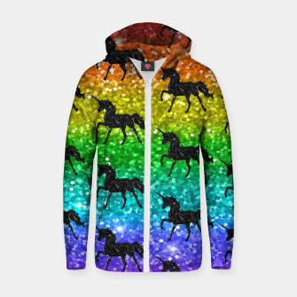 Miniatur Unicorn Silhoutte Rainbow Colors Glitter LGBTQ Pride Zip up hoodie, Live Heroes