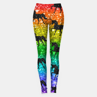 Thumbnail image of Unicorn Silhoutte Rainbow Colors Glitter LGBTQ Pride Leggings, Live Heroes