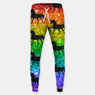 Thumbnail image of Unicorn Silhoutte Rainbow Colors Glitter LGBTQ Pride Sweatpants, Live Heroes