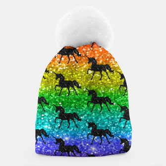 Thumbnail image of Unicorn Silhoutte Rainbow Colors Glitter LGBTQ Pride Beanie, Live Heroes