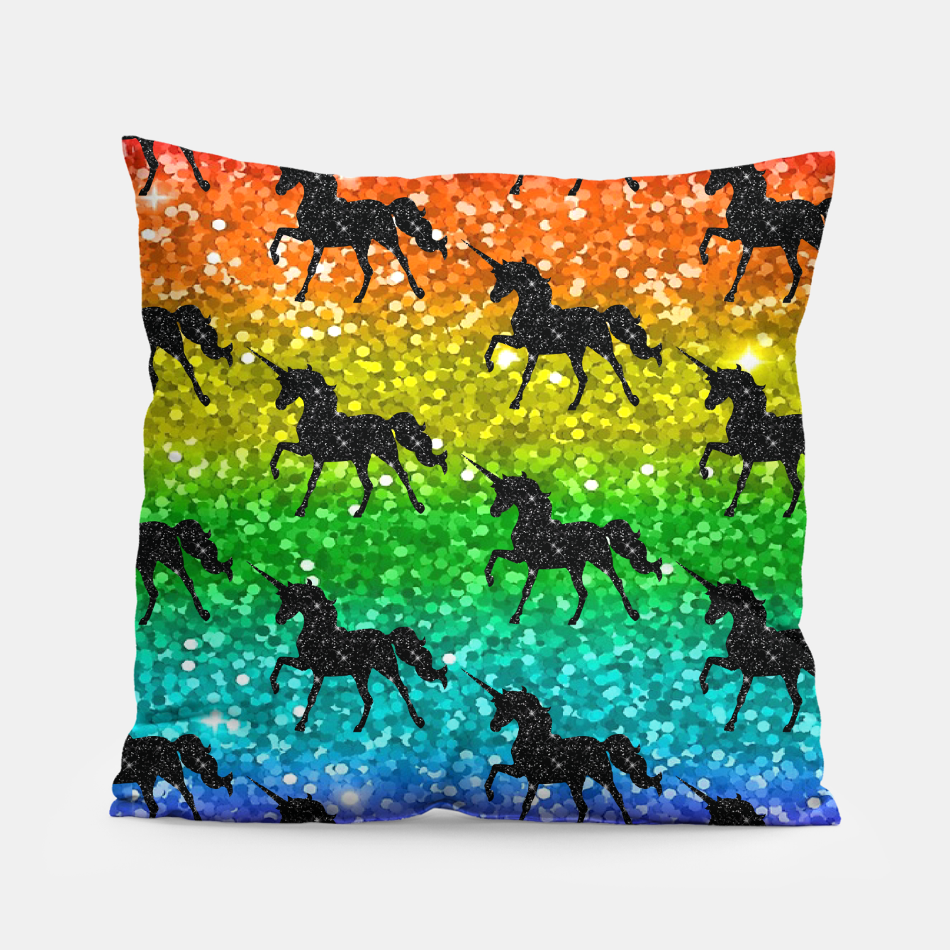 Image of Unicorn Silhoutte Rainbow Colors Glitter LGBTQ Pride Pillow - Live Heroes