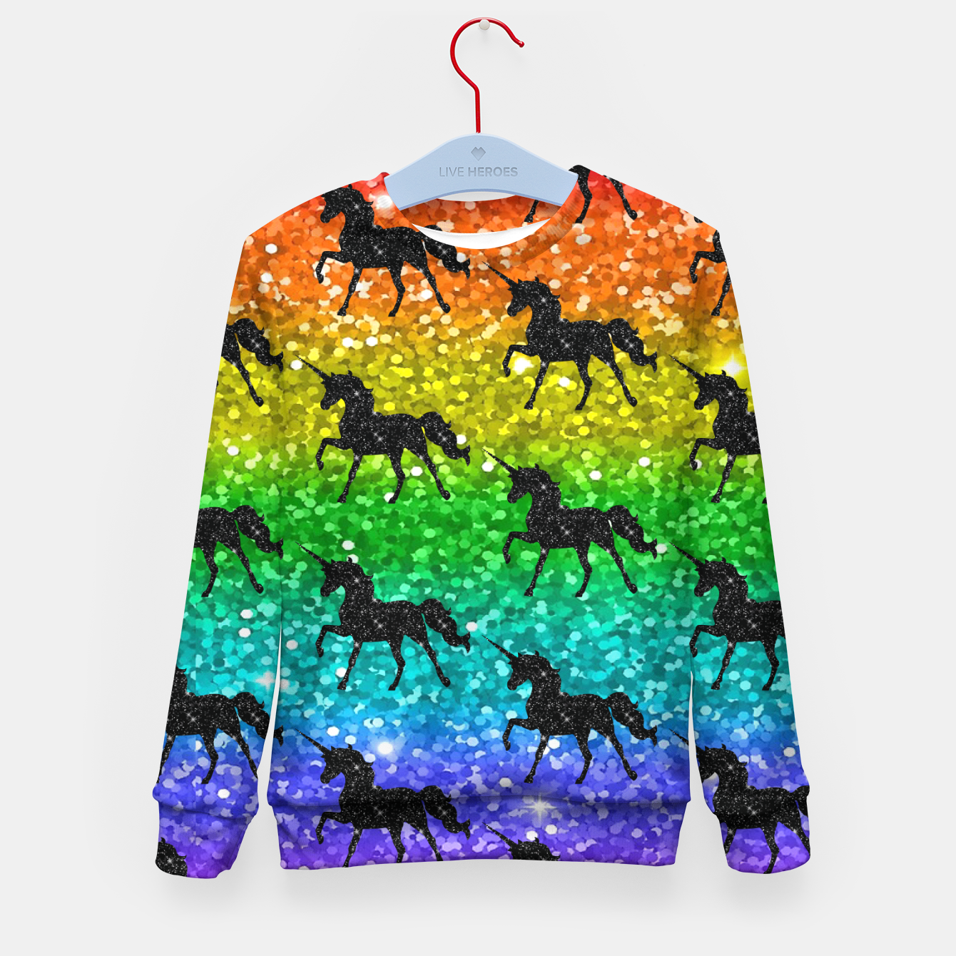 Image of Unicorn Silhoutte Rainbow Colors Glitter LGBTQ Pride Kid's sweater - Live Heroes
