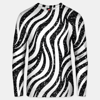 Thumbnail image of Zebra Stripes Black Glitter Wild Animals Print Chic Glam Unisex sweater, Live Heroes