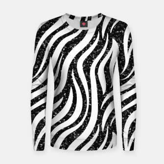 Thumbnail image of Zebra Stripes Black Glitter Wild Animals Print Chic Glam Women sweater, Live Heroes