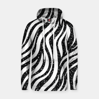 Thumbnail image of Zebra Stripes Black Glitter Wild Animals Print Chic Glam Hoodie, Live Heroes