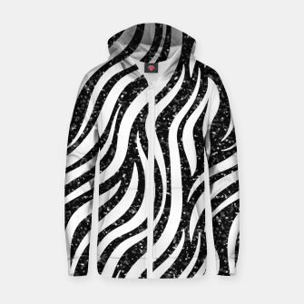 Thumbnail image of Zebra Stripes Black Glitter Wild Animals Print Chic Glam Zip up hoodie, Live Heroes