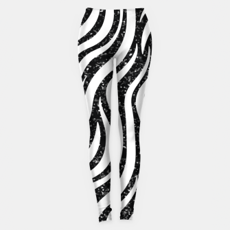 Thumbnail image of Zebra Stripes Black Glitter Wild Animals Print Chic Glam Leggings, Live Heroes
