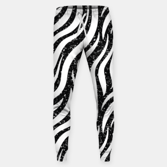 Thumbnail image of Zebra Stripes Black Glitter Wild Animals Print Chic Glam Sweatpants, Live Heroes