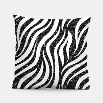 Imagen en miniatura de Zebra Stripes Black Glitter Wild Animals Print Chic Glam Pillow, Live Heroes
