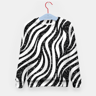 Thumbnail image of Zebra Stripes Black Glitter Wild Animals Print Chic Glam Kid's sweater, Live Heroes