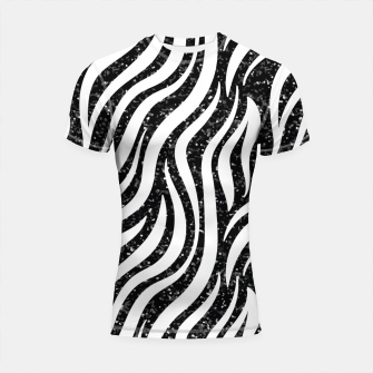 Thumbnail image of Zebra Stripes Black Glitter Wild Animals Print Chic Glam Shortsleeve rashguard, Live Heroes
