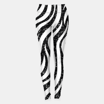 Miniaturka Zebra Stripes Black Glitter Wild Animals Print Chic Glam Leggings, Live Heroes