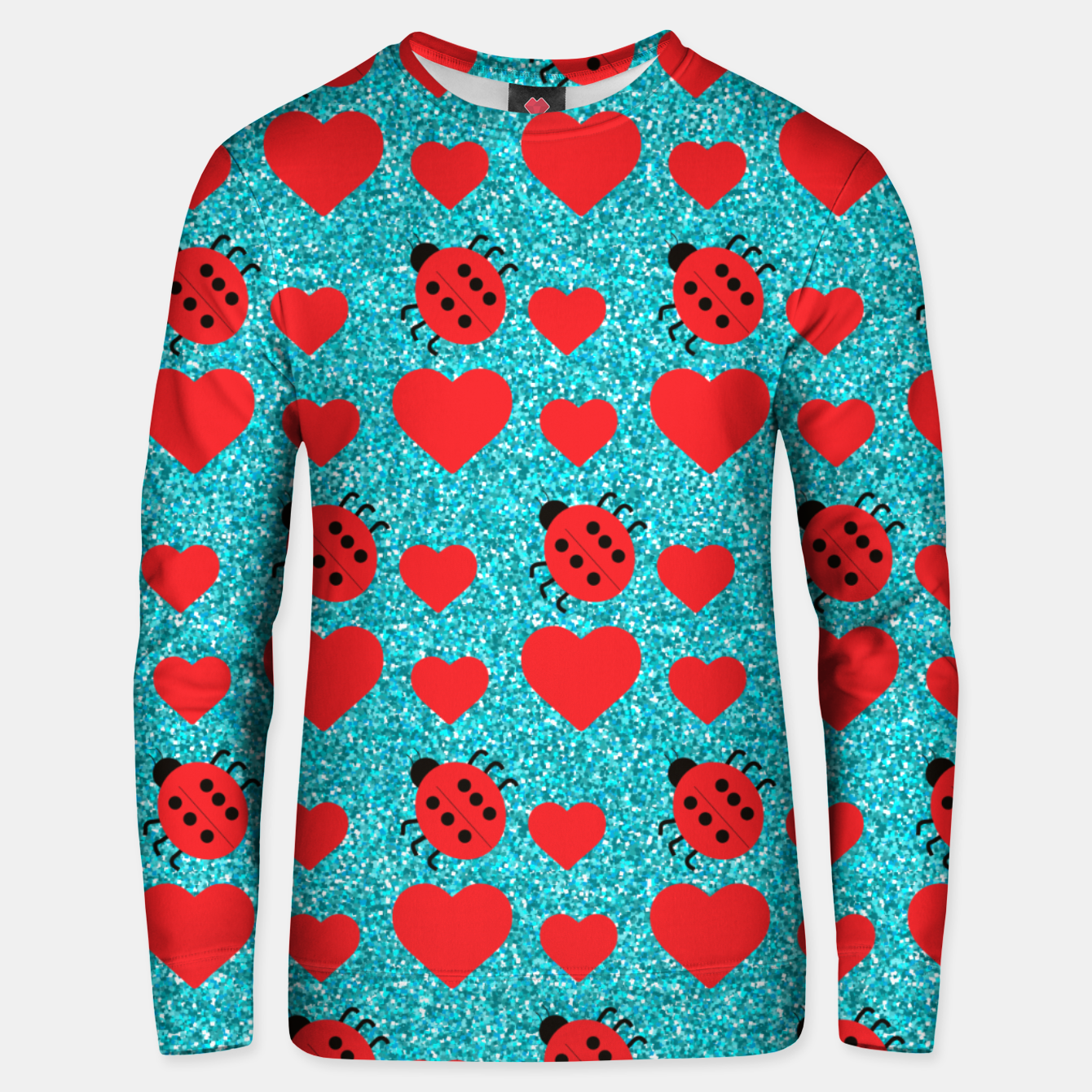 Image of Ladybugs Lucky Insect Red Hearts Black Polka Dots Botanical Unisex sweater - Live Heroes