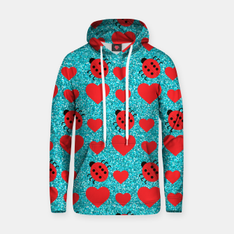 Thumbnail image of Ladybugs Lucky Insect Red Hearts Black Polka Dots Botanical Hoodie, Live Heroes