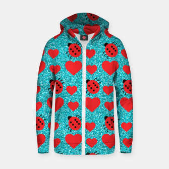 Miniatur Ladybugs Lucky Insect Red Hearts Black Polka Dots Botanical Zip up hoodie, Live Heroes