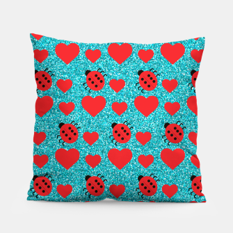 Imagen en miniatura de Ladybugs Lucky Insect Red Hearts Black Polka Dots Botanical Pillow, Live Heroes