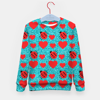 Miniaturka Ladybugs Lucky Insect Red Hearts Black Polka Dots Botanical Kid's sweater, Live Heroes