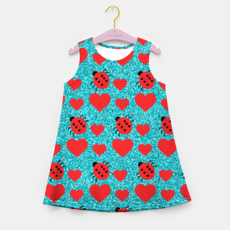 Miniatur Ladybugs Lucky Insect Red Hearts Black Polka Dots Botanical Girl's summer dress, Live Heroes