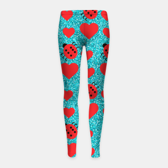 Miniaturka Ladybugs Lucky Insect Red Hearts Black Polka Dots Botanical Girl's leggings, Live Heroes