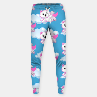 Cute White Cat Pink Wings Animal Lovers Pet Owner Sweatpants thumbnail image
