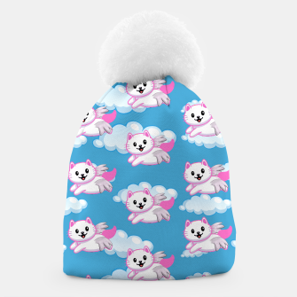 Cute White Cat Pink Wings Animal Lovers Pet Owner Beanie thumbnail image