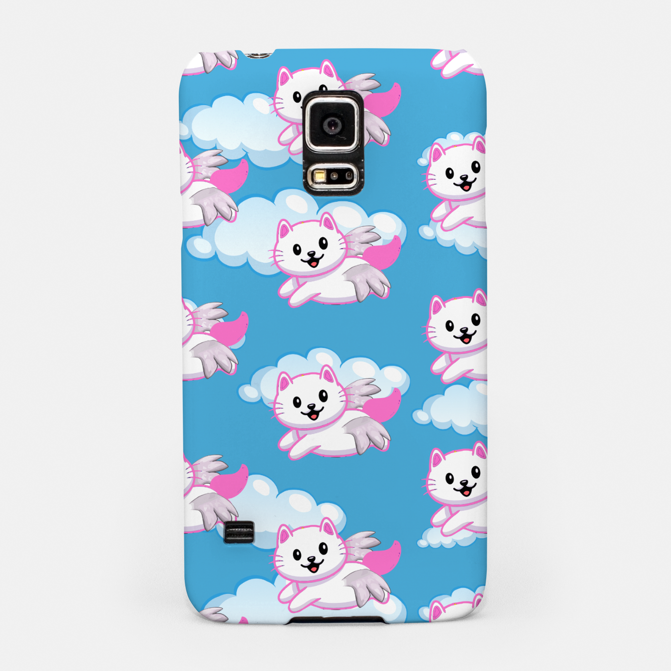 Image of Cute White Cat Pink Wings Animal Lovers Pet Owner Samsung Case - Live Heroes
