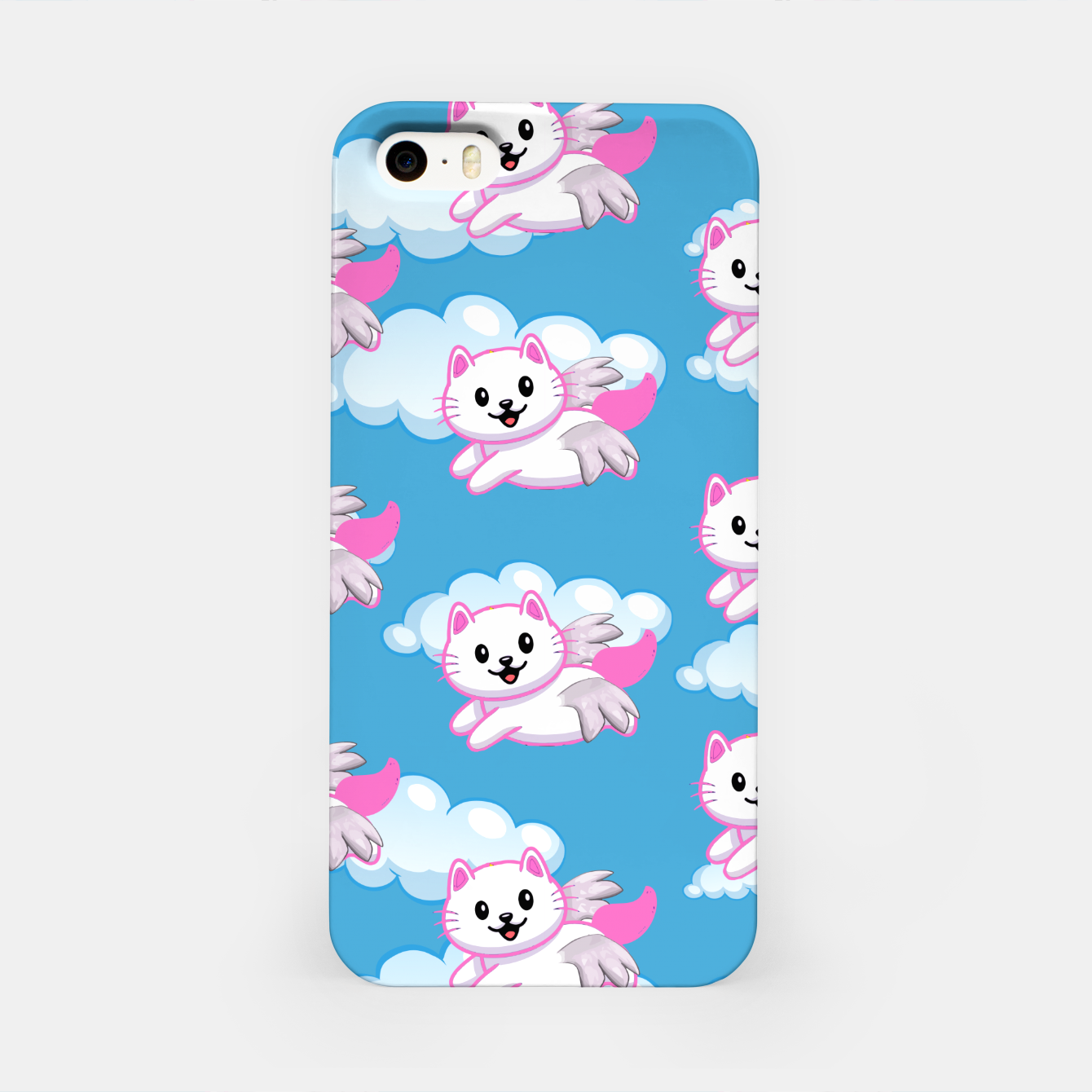 Image of Cute White Cat Pink Wings Animal Lovers Pet Owner iPhone Case - Live Heroes