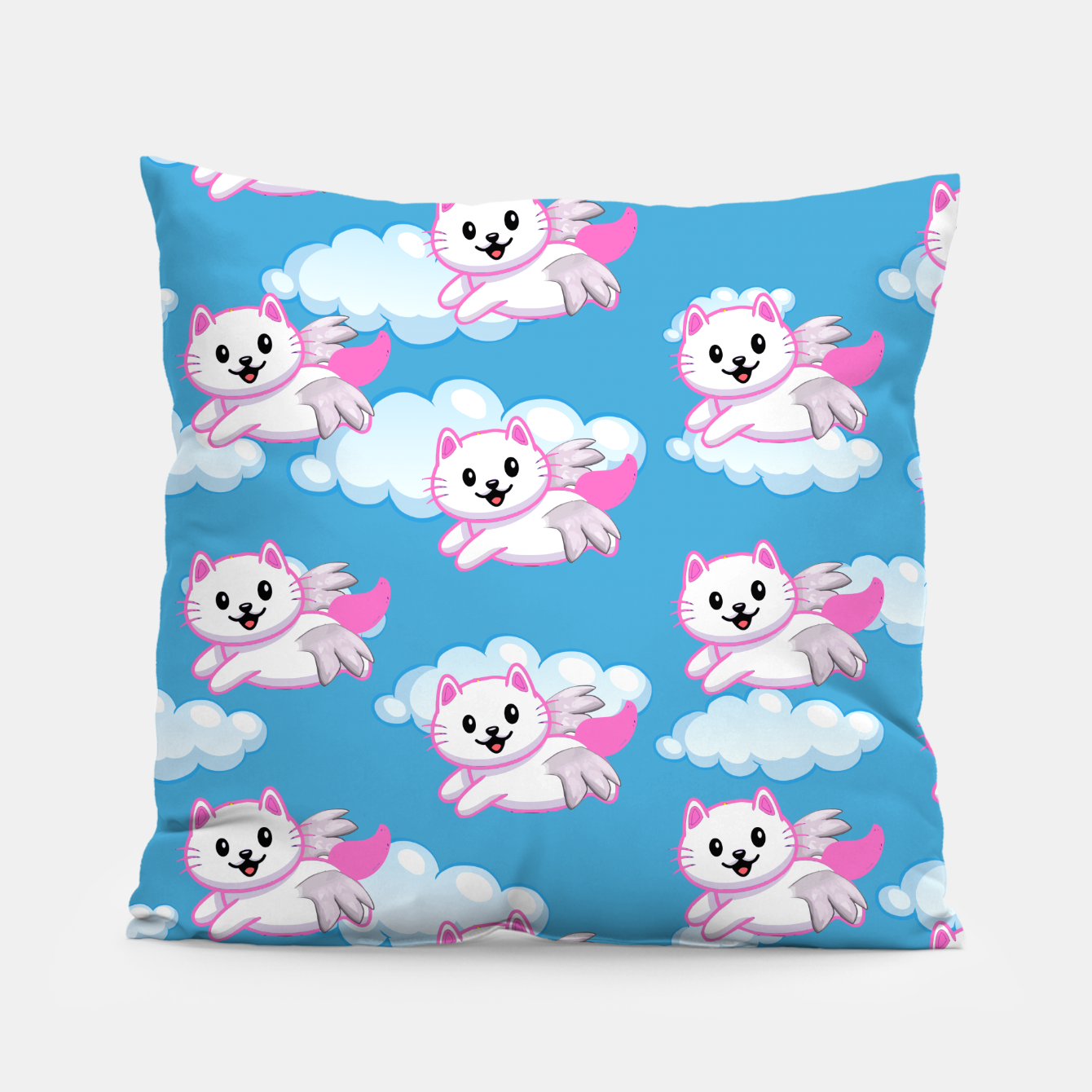 Image of Cute White Cat Pink Wings Animal Lovers Pet Owner Pillow - Live Heroes