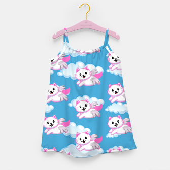 Thumbnail image of Cute White Cat Pink Wings Animal Lovers Pet Owner Girl's dress, Live Heroes