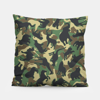 Thumbnail image of Animals Wild Animal Camo Forest Woodland Camouflage Pattern Pillow, Live Heroes