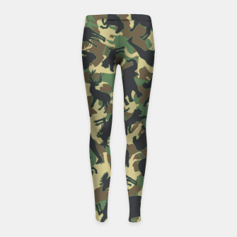 Thumbnail image of Animals Wild Animal Camo Forest Woodland Camouflage Pattern Girl's leggings, Live Heroes